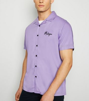 Lilac Michigan Embroidered Slogan Shirt