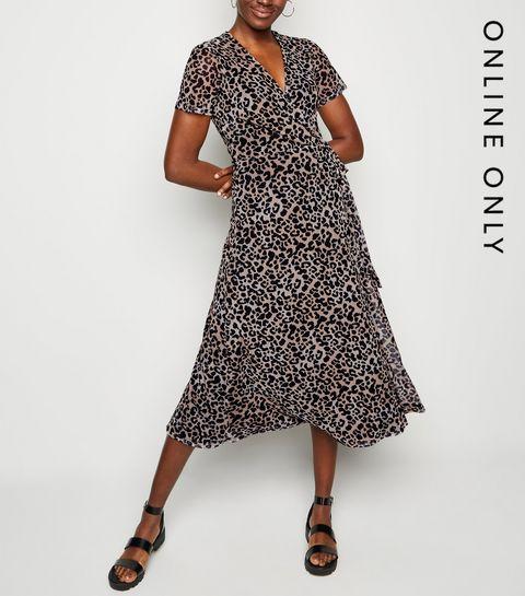993fab0764 ... Brown Leopard Print Mesh Wrap Midi Dress ...