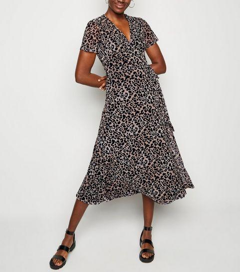 7095e7f65185 ... Brown Leopard Print Mesh Wrap Midi Dress ...