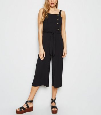 Black Herringbone Button Side Jumpsuit