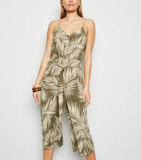 5a33a4ba5d64 ... Green Leaf Print Belted Jumpsuit ...