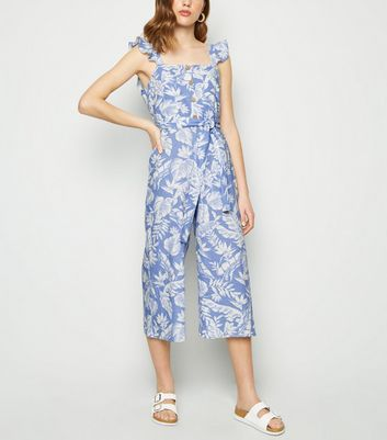 Blue Tropical Linen Blend Tie Waist Jumpsuit