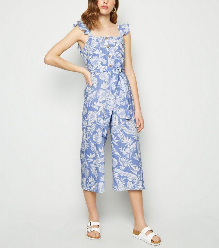 aca813f94d Blue Floral Linen Blend Tie Waist Jumpsuit