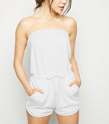 White Bandeau Jersey Playsuit