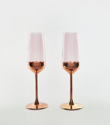 2 Pack Rose Gold Metallic Flutes