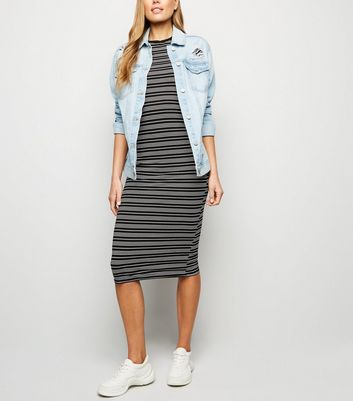 Black Stripe Jersey Bodycon Midi Dress