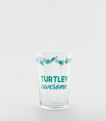 Mint Green Turtley Awesome Slogan Tumbler Glass