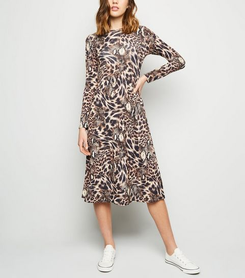 a996155047 ... Brown Animal Print Midi Dress ...