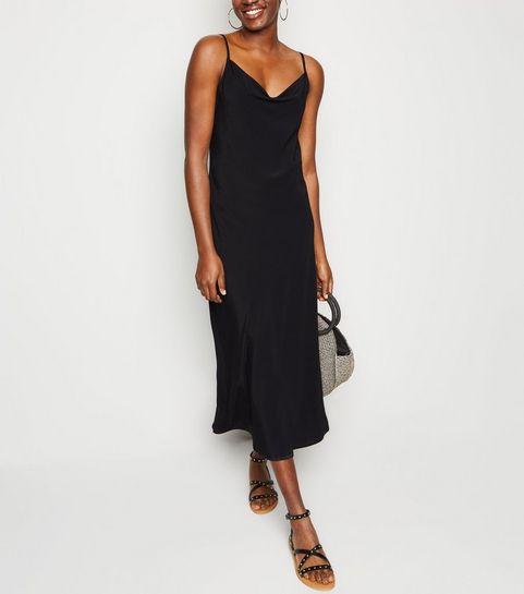 8be9da7bdcc256 ... Black Cowl Neck Slip Midi Dress ...