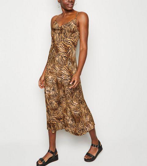ee6525e1df ... Brown Tiger Print Cowl Neck Midi Slip Dress ...