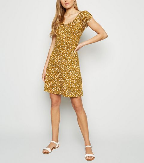 83f38cc2ee5 ... Mustard Ditsy Floral Tie Neck Dress ...