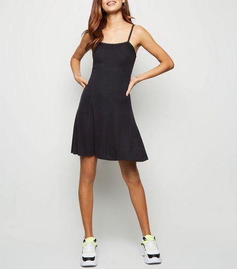 ... Black Rib Daisy Trim Skater Dress ... 7b4796a727
