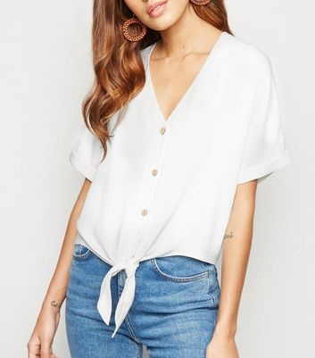 White Tie Front Button Up V Neck Shirt