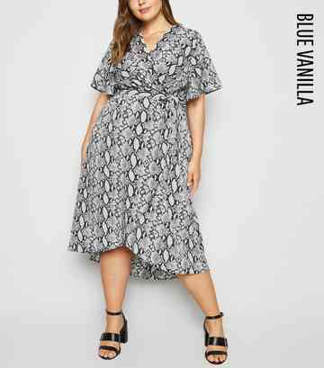 Blue Vanilla Curves Light Grey Snake Print Wrap Dress
