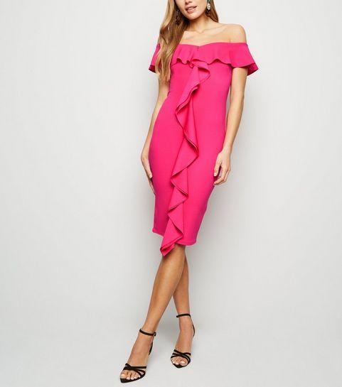 ... Bright Pink Ruffle Front Bardot Midi Dress ... 9d3cb993a