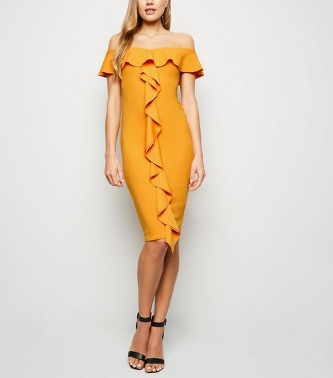381915e8bc ... Orange Ruffle Front Bardot Midi Dress ...