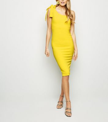 Yellow Tie One Shoulder Bodycon Dress