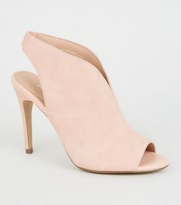 Pink Leather-Look Peep Toe Stilettos