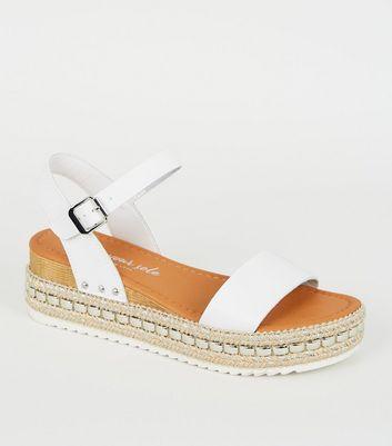 White Leather-Look Stud Flatform