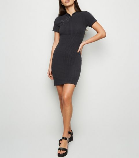 ... Black Floral Appliqué Mini Bodycon Dress ... 4d5ff5050