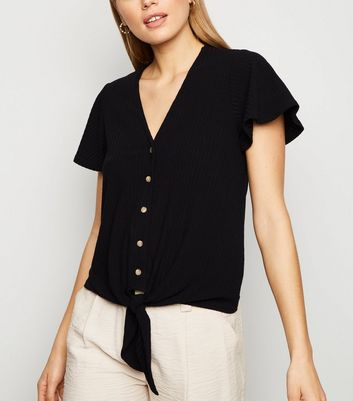 Black Ribbed Button Tie Front Top
