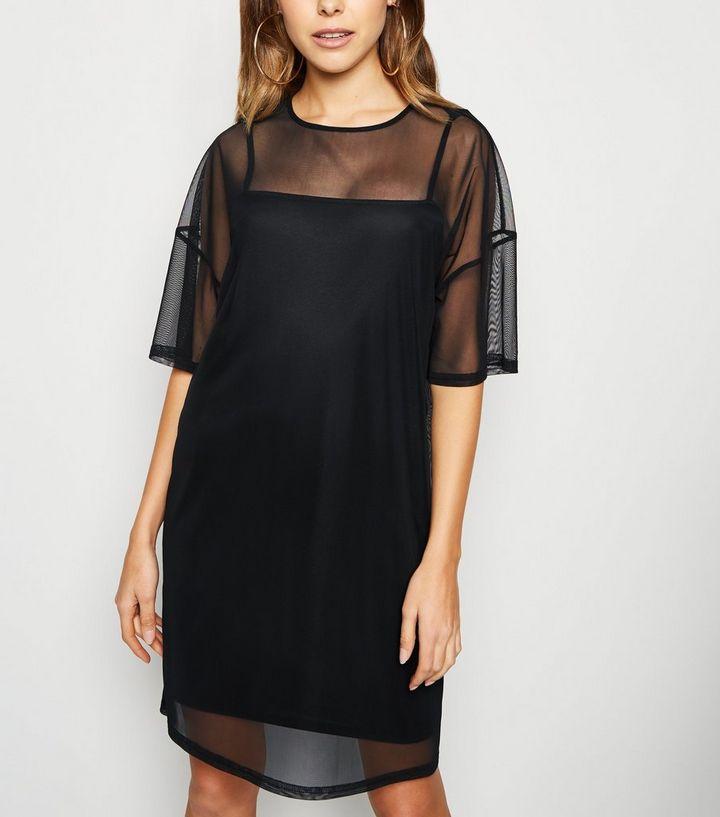 5e1b4162cab Black Mesh T-Shirt Dress | New Look