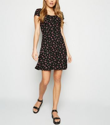 Black Rose Print Jersey Milkmaid Dress