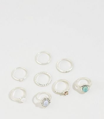 8 Pack Turquoise Mixed Stone Diamanté Ring Stack