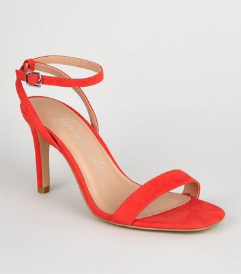 Wide Fit Coral Square Toe Heeled Sandals