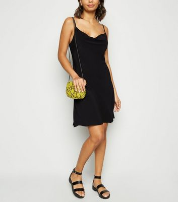 Black Cowl Neck Mini Slip Dress