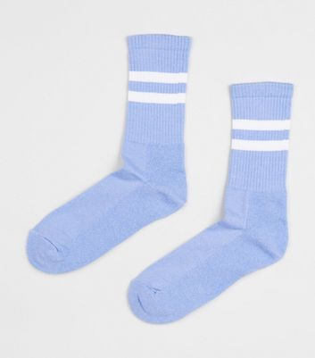 Pale Blue Stripe Sports Socks