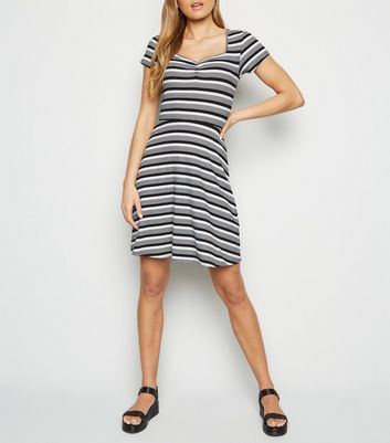 Black Stripe Jersey Skater Dress
