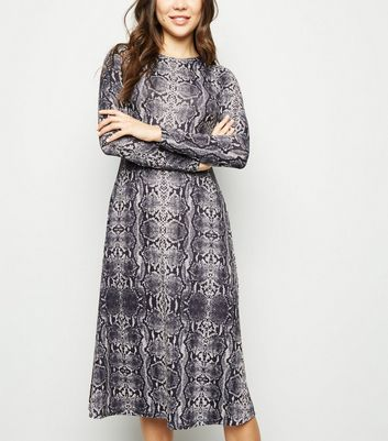 Light Grey Snake Print Jersey Midi Swing Dress