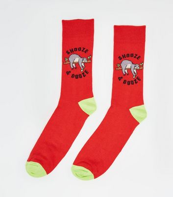 Red Sloth Snooze and Booze Slogan Socks