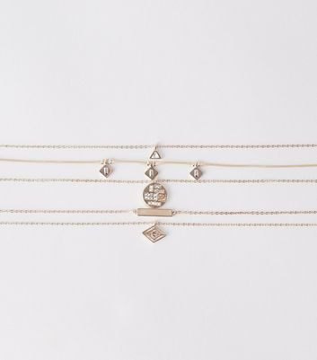 5 Pack Rose Gold Geometric Pendant Chokers