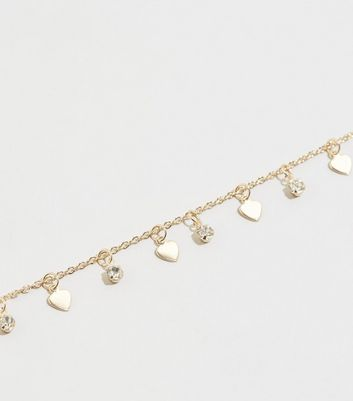 Gold Heart Charm Choker Necklace