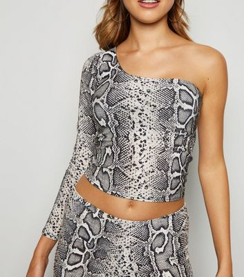 Brown Snake Print Glitter One Shoulder Top