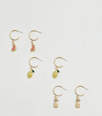 6 Pack Gold Fruit Charm Hoop Earrings