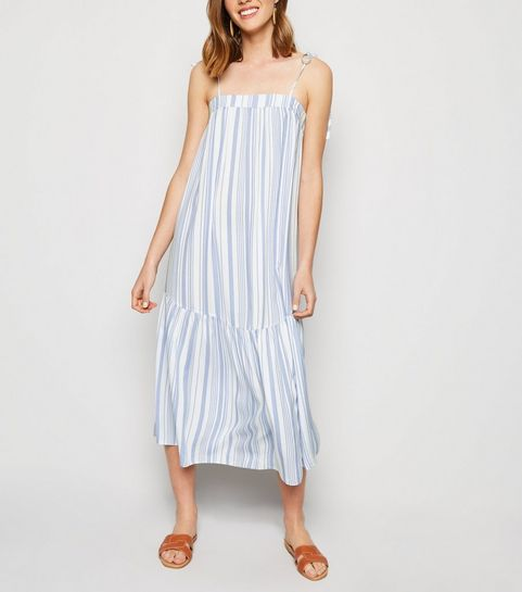 d50e8451e3c ... White Stripe Tiered Smock Midi Dress ...