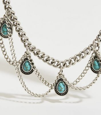 Turquoise Gem Drape Chain Anklet New Look