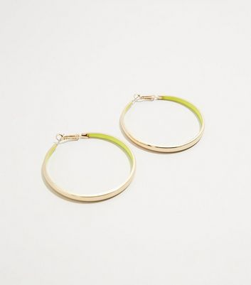 Green Neon Inside Gold Hoop Earrings