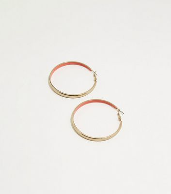 Bright Pink Neon Inside Gold Hoop Earrings