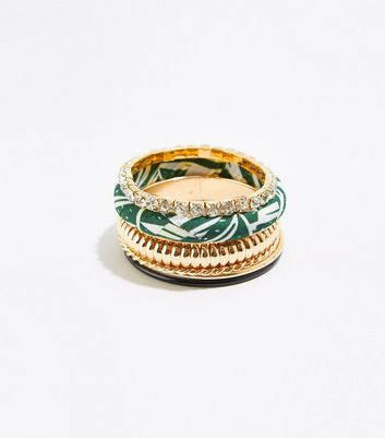 6 Pack Gold Mixed Palm Print Bangles