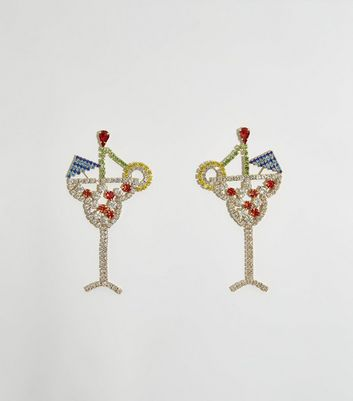Multicoloured Diamanté Cocktail Earrings