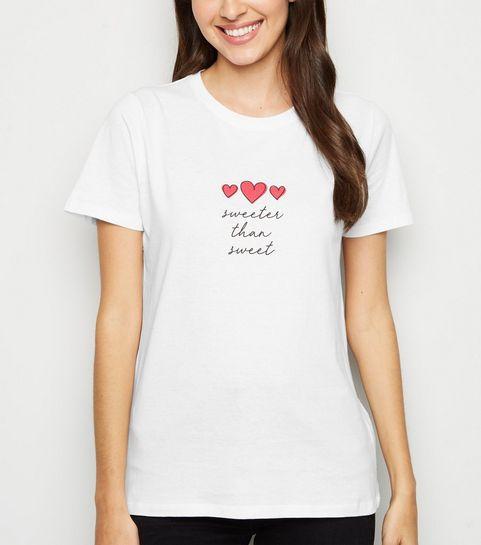 ... White Sweeter Than Sweet Slogan T-Shirt ... e386be939