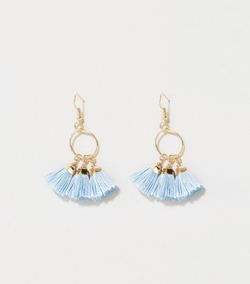 Bright Blue Tassel Drop Earrings