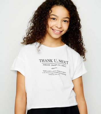 Girls White Thank You Next Definition Slogan T-Shirt