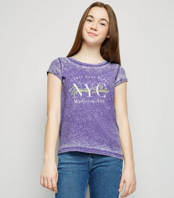 Girls Purple Burnout NYC Slogan T-Shirt