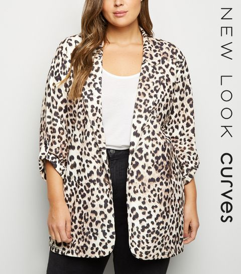 afbe8c99be6 ... Curves Brown Leopard Print Scuba Blazer ...