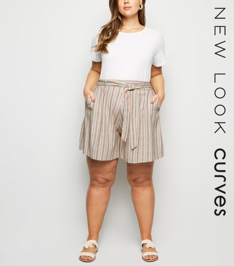 7a87a434a29 ... Curves White Stripe Linen Look Shorts ...